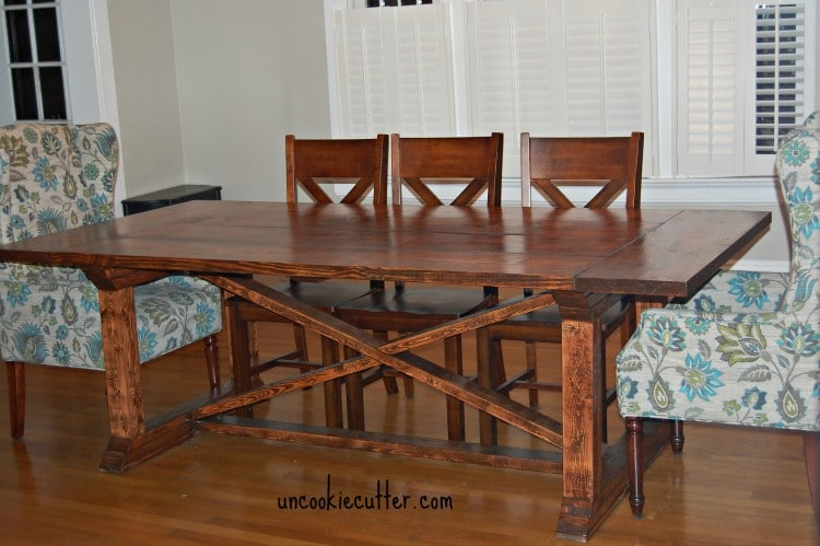 Use Ana White plans to create this DIY dining table with a removable top - Uncookiecutter.com