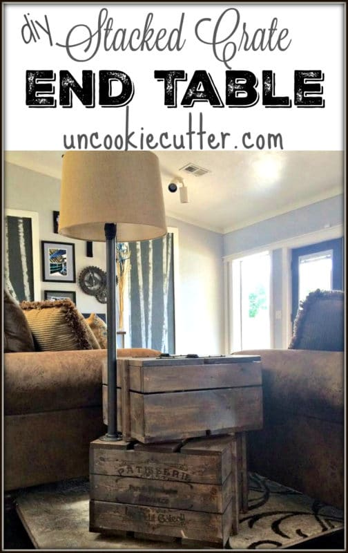 DIY Build Your Own Stacked Crate End Table - Uncookiecutter.com