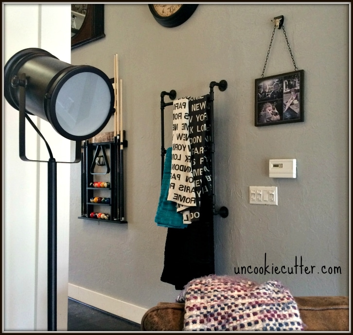DIY Industrial Throw Blanket Ladder - Uncookiecutter.com