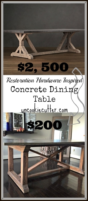 Stop by to get all the details on how I made this concrete dining table, even though I had never used concrete before! Get the lowdown at UncookieCutter.com
