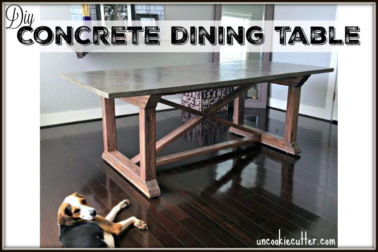 DIY Concrete Top Dining Table - UncookieCutter.com