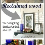 DIY tutorial for a rustic industrial hanging shelf with rope and reclaimed wood from the yard! Perfect for kitchen or living room.