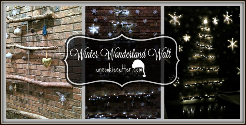 How to turn a blank wall into a Winter Wonderland Wall. Including light-up snowflakes and an industrial branch Christmas tree. UncookieCutter.com