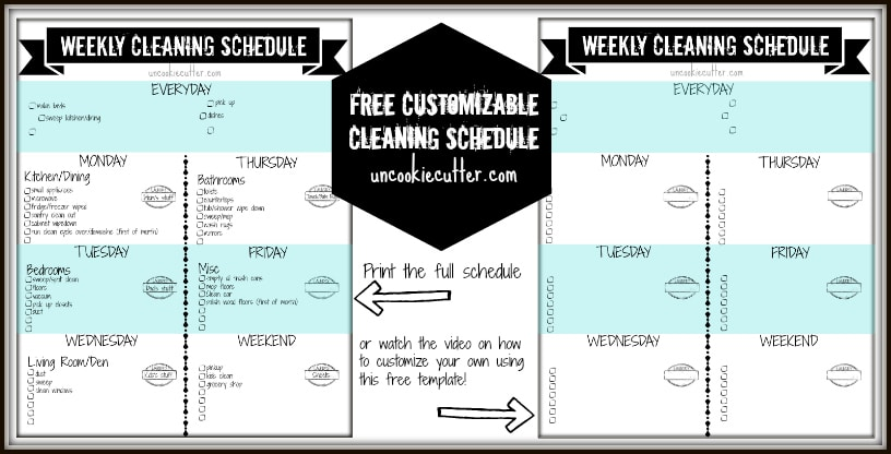 Weekly Customizable Cleaning Schedule Printable And Video Tutorial Uncookie Cutter