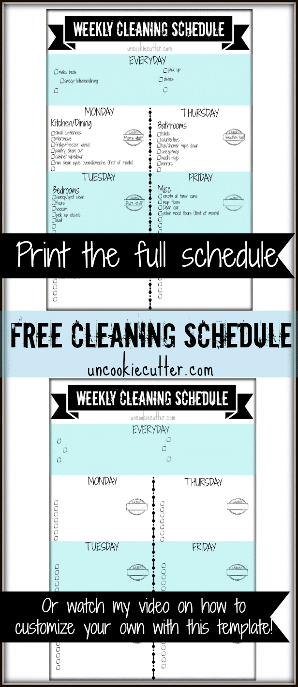 weekly customizable cleaning schedule printable and video