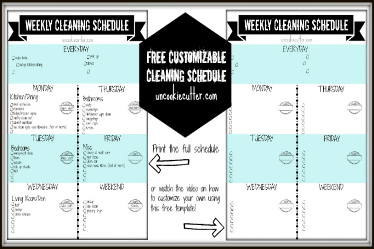 photograph regarding Free Printable Cleaning Schedule identify Weekly Customizable Cleansing Plan Printable and Online video