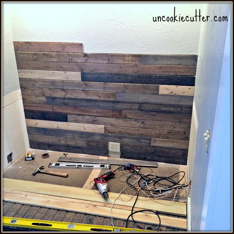 Mixed wood wall easy cheap diy uncookie cutter How to disguise wood paneling