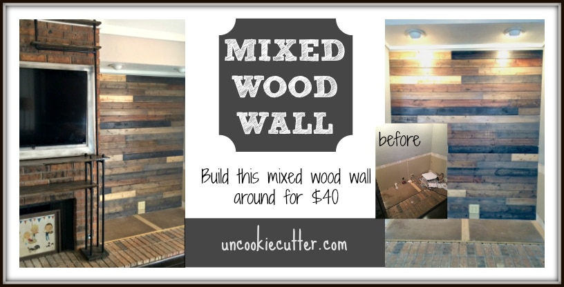 I created this mixed wood wall with cheap wood paneling from Lowes,  leftover stain and - Mixed Wood Wall - Easy & Cheap DIY - Uncookie Cutter