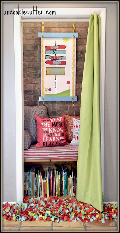 Kids Book Nook with a Dr. Suess theme - UncookieCutter.com