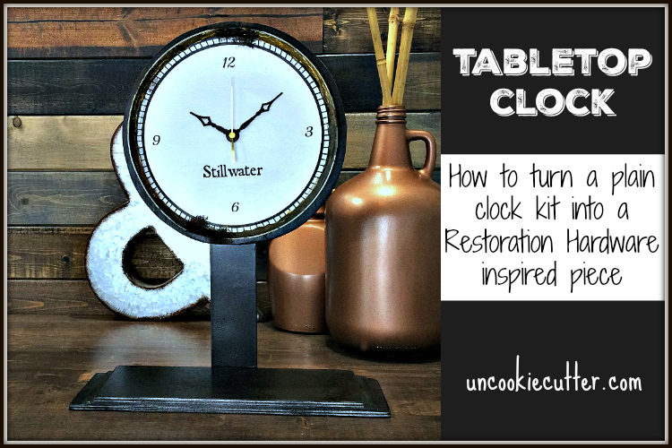 Tabletop Clock - Plain wood clock kit upcycle - March Create and Share. UncookieCutter.com