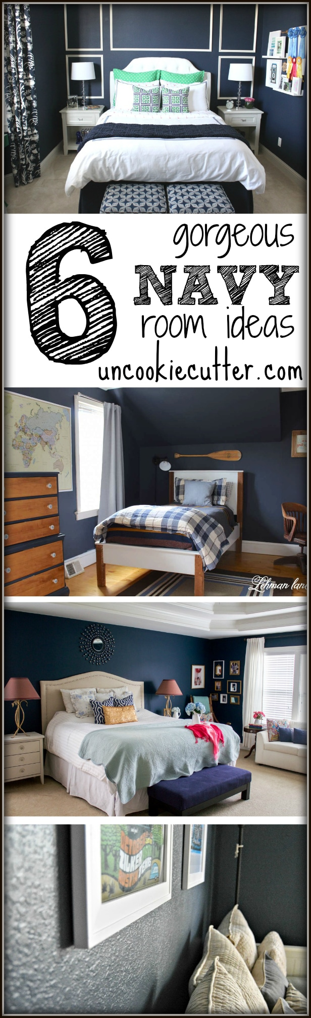 6 gorgeous ideas for Navy rooms - UncookieCutter.com