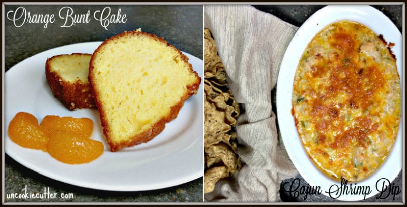 Orange Bunt Cake and Cajun Shrimp Dip - Made for potluck party and picked from this weeks linkups at the You Link It, We Make It link party. Every Wed. through Sat at KnockifOffKim.com and UncookieCutter.com