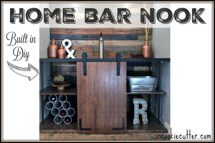 DIY built in Home Bar Nook - UncookieCutter.com