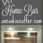 """How I """"DIY""""ed our small built in rustic home bar cabinet. Perfect decor for your dining or living room with built in floating shelves and keg!"""