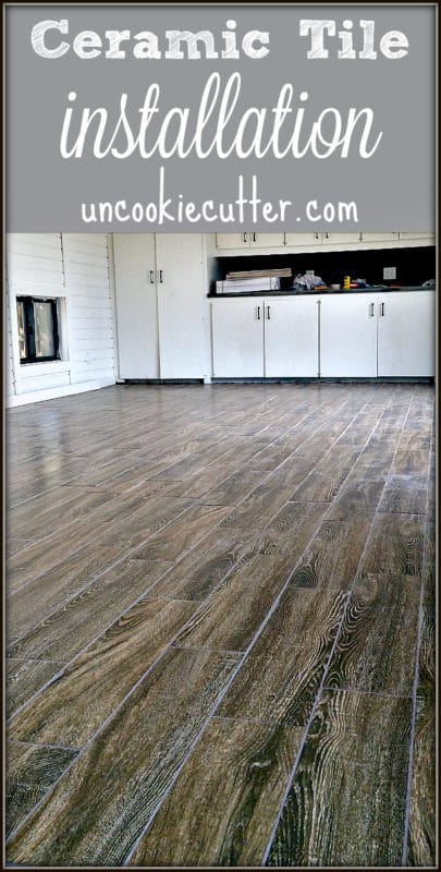 Get all the details on our new hardwood looking ceramic tile installation - including colors, spacer size and why we didn't start in the middle of the room! UncookieCutter