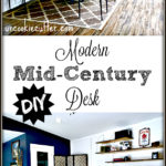 I've got plans and all the details for my modern desk DIY from my husbands cheap office makeover!
