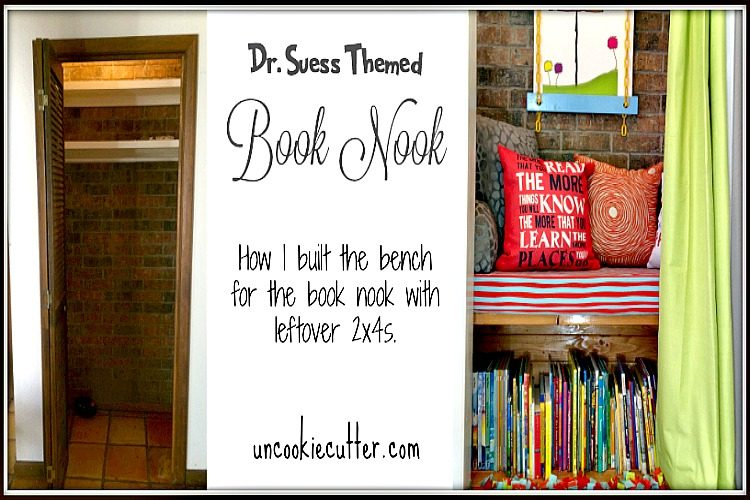 Dr. Suess Themed Book Nook made from an old coat closet. UncookieCutter.com