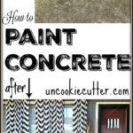 How we updated our outdoor patio floors with DIY painted concrete. Could work for backyard porch or walkway too!