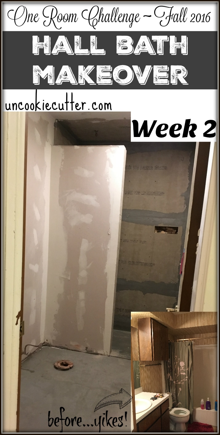 Hall Bathroom Makeover - One Room Challenge Week 2 - UncookieCutter.com