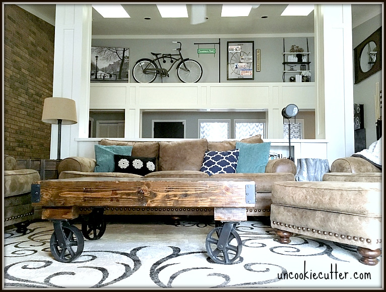 Rustic Industrial Living Room Before & After - UncookieCutter.com
