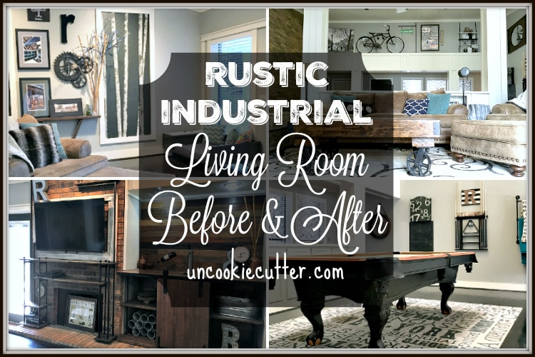 Rustic Industrial Living Room Before and After