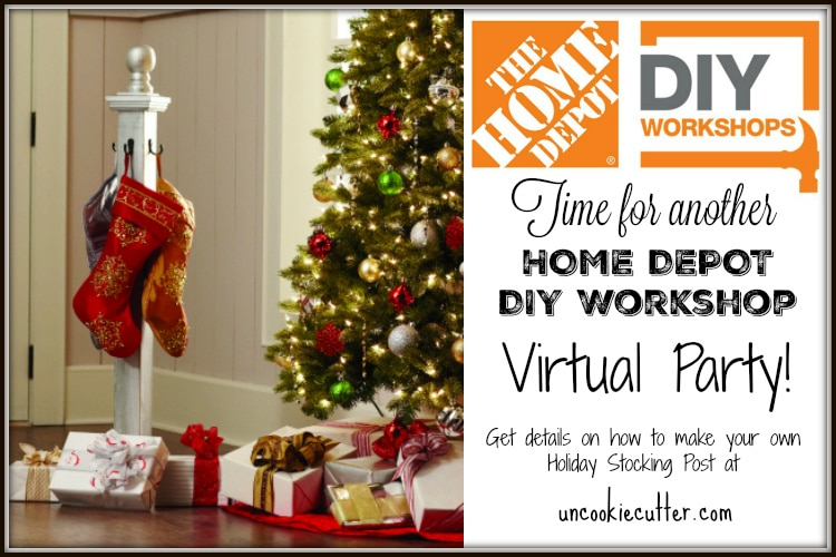 Visit one of your local Home Depot DIY Workshops to learn how to make a unique stocking holder post - get more details at UncookieCuttter.com