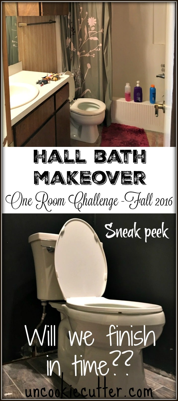 Hall Bath Makeover - One Room Challenge - Fall 2016 - Week 5 - UncookieCutter.com