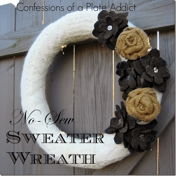 Confessions of a Plate Addict - Easy No-Sew Sweater Wreath