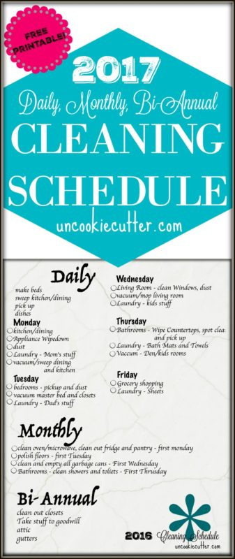 2017 Cleaning Schedule - Free Printable! UncookieCutter.com