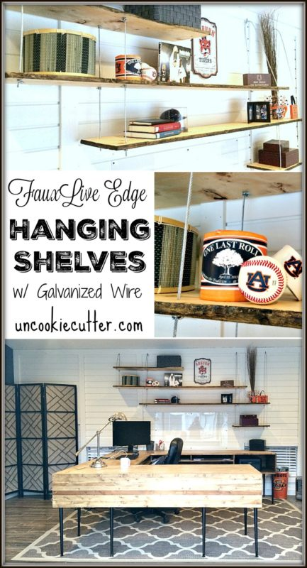 Hanging Shelves with Galvanized Wire and Faux Live Edge - UncookieCutter.com