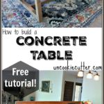 A Concrete Table is a beautiful way to bring an industrial vibe to your room and is totally doable with this DIY tutorial. - UncookieCutter.com