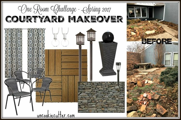 Courtyard Makeover - Week 1 - One Room Challenge Spring 2017 - UncookieCutter.com