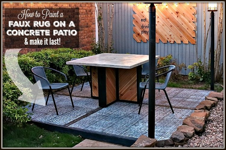 How to paint a faux concrete rug onto your ourdoor patio - UncookieCutter.com