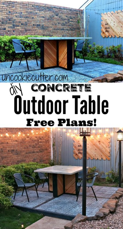How to build this outdoor concrete table - UncookieCutter.com