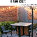 How to DIY a faux painted rug on your outdoor concrete patio, deck or porch using a stencil.