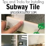 Get my DIY tips and tricks for installing subway tile and grout for your kitchen or bathroom. We updated our our backsplash with white tile against dark cabinets and love it.