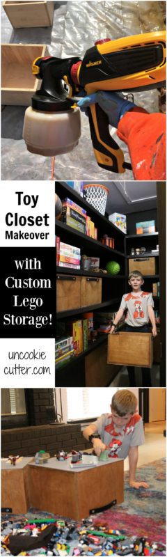 After looking through many Lego storage ideas and toy closet ideas, I finally organized our toys to be fun and functional!  The kids have kept it organized for almost a year now.  Check out my Lego table alternative DIY!