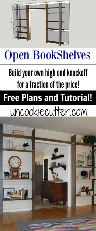 These plans for open bookshelves walk you through building your own high end furniture piece for a fraction of the cost! UncookieCutter.com