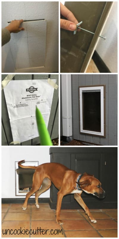 Installing a dog door in the wall may seem intimidating at first, but it turned out to be way easier than I thought! UncookieCutter.com