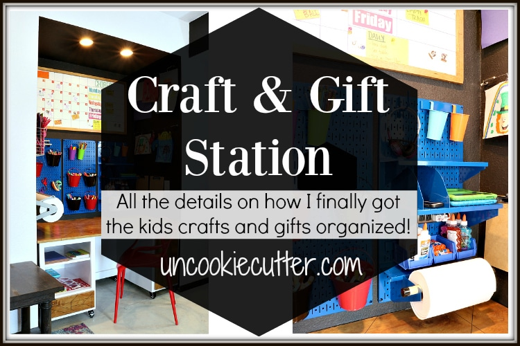 Adding this craft station has been so great, the kids love it and now all their craft and gift wrapping stuff has a home! Get all the details at UncookieCutter.com.