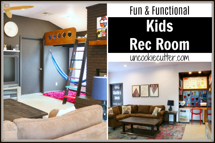 We have completed our kids rec room makeover and what was once drab and disgusting is now fun, bright and functional! UncookieCutter.com