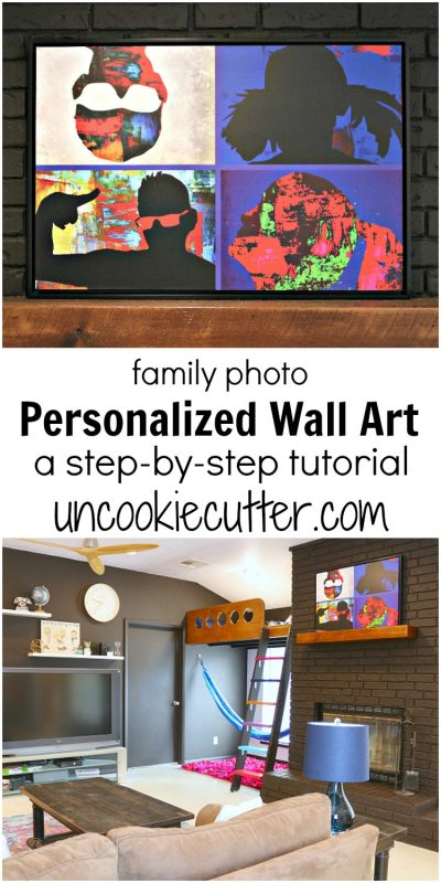 Step by step tutorial on how to create your own family photo personalized wall art. I get so many compliments on this piece and it was super fun to create. UncookieCutter.com