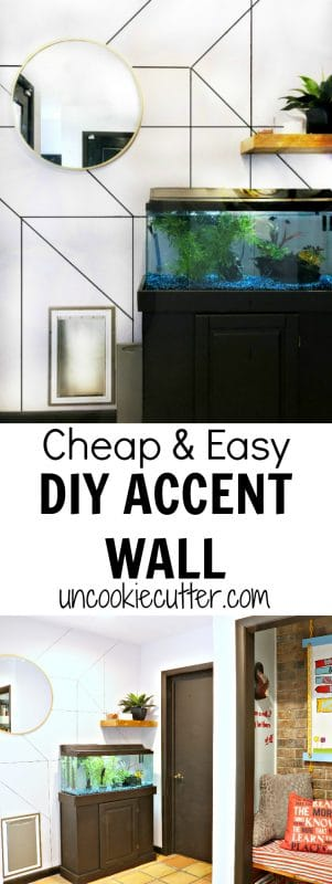 I created this quick and easy accent wall to add a little interest to this boring space for no money! Details at UncookieCutter.com.