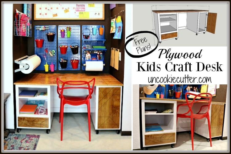 The kids desk plans are finally here and I've included space for a trash can, paper storage and a drawer for ribbon and tissue paper. Full tutorial at UncookieCutter.com!