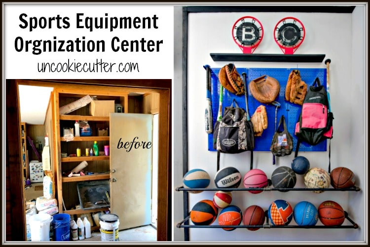 My kiddos sports equipment was driving me crazy, so I whipped up this sports equipment organization center to keep it all under control.