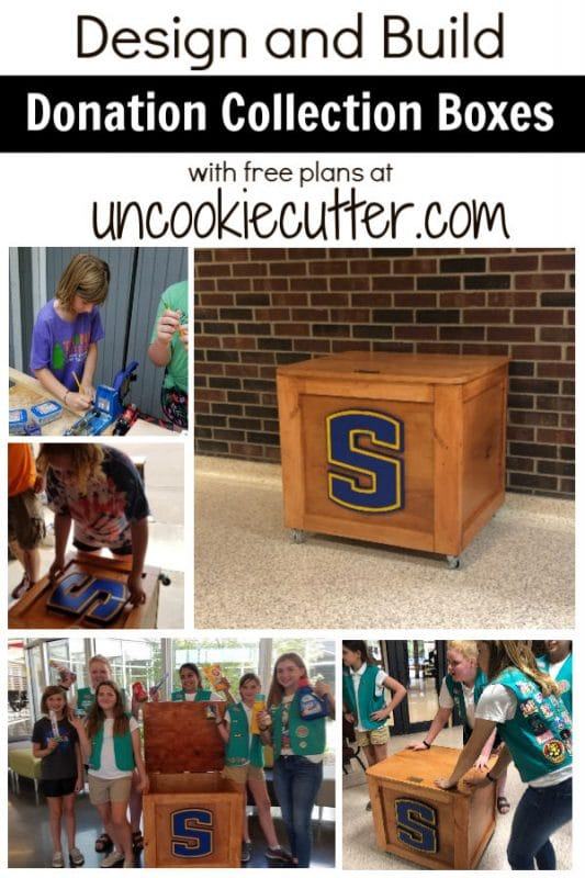 I teamed up with a local GS Troup to design and build a Donation Collection Box (or 3) so they could earn their woodworking badges. Free plans at UncookieCutter.com!