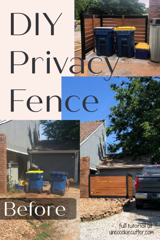How I built this easy DIY wood privacy fence to hide our ugly and lopsided trash cans. Full tutorial at UncookieCutter.com!